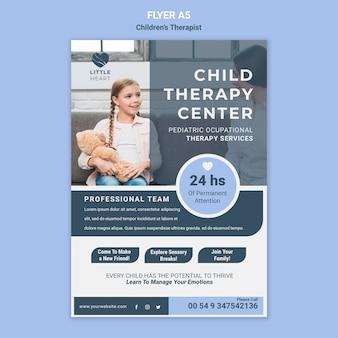 Sjabloon voor kindertherapeut concept folder