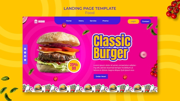 Sjabloon voor klassieke hamburger-bestemmingspagina page
