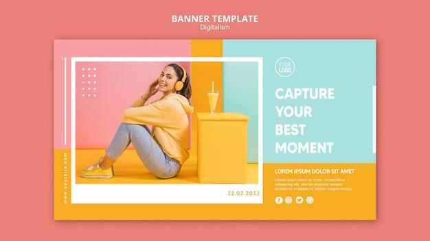 Sjabloon voor kleurrijke digitalisme horizontale banner