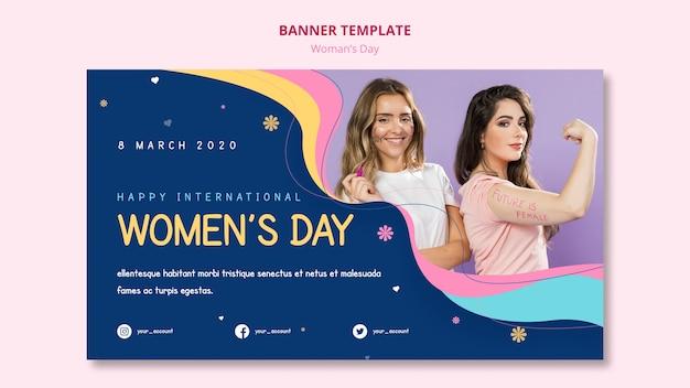 Sjabloon voor krachtige vrouwelijke vrouwendag spandoek