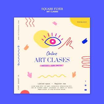 Sjabloon voor kunstlessen vierkant flyer