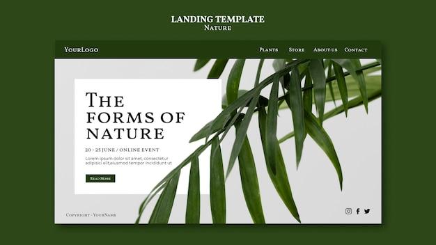 Sjabloon voor landingspagina's in de vorm van natuur