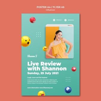 Sjabloon voor live recensie-poster