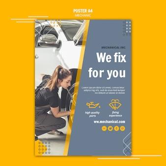 Sjabloon voor mechanische hulp poster