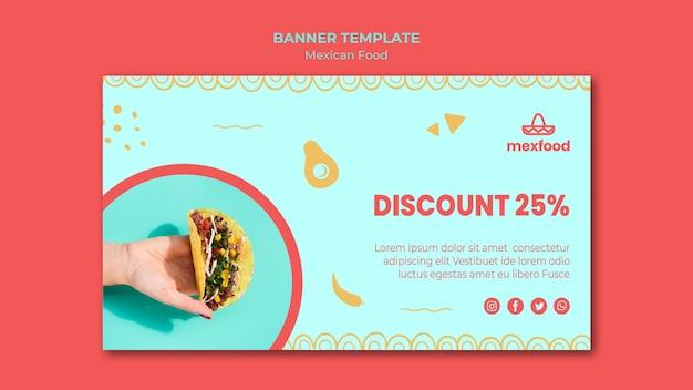 Sjabloon voor mexicaans eten horizontale spandoek