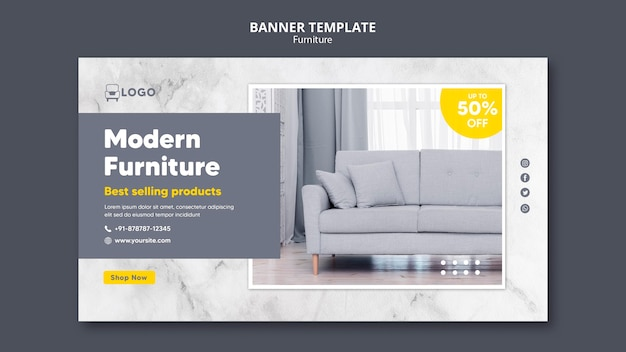 Sjabloon voor modern meubilair horizontale spandoek