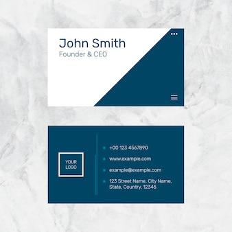 Sjabloon voor modern visitekaartjes psd in marineblauw