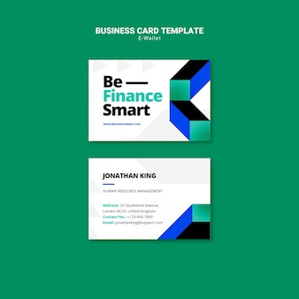 Sjabloon voor moderne e-wallet-visitekaartjes