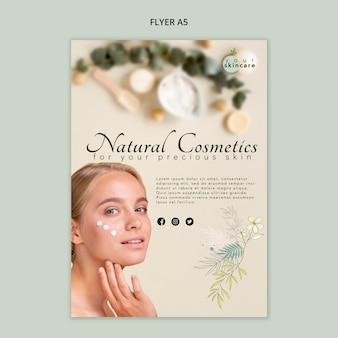 Sjabloon voor natuurlijke cosmetica-flyer