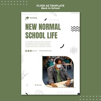 Sjabloon voor nieuw normaal schoolleven flyer