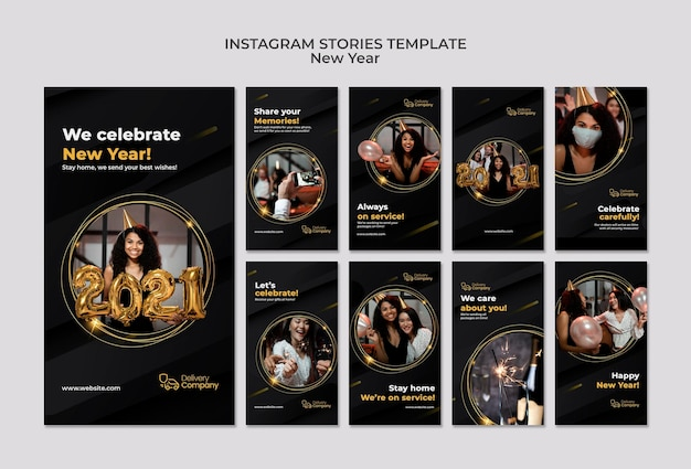 Sjabloon voor nieuwe jaarverhalen op sociale media