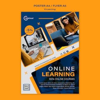 Sjabloon voor online leren-poster