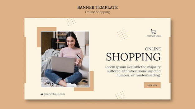 Sjabloon voor online spandoek winkelen