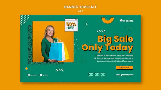 Sjabloon voor online verkoop horizontale banner Gratis Psd