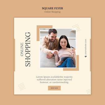 Sjabloon voor online winkelen vierkante flyer