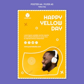 Sjabloon voor poster met gele dag
