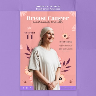 Sjabloon voor poster over het bewustzijn van borstkanker