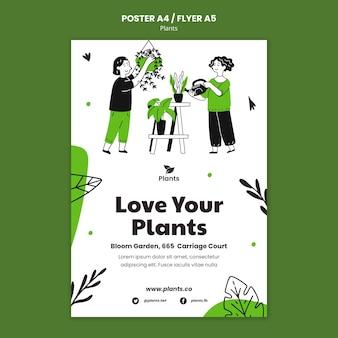 Sjabloon voor poster over tuinieren
