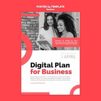 Sjabloon voor poster van digitaal businessplan