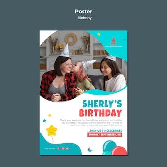 Sjabloon voor poster verjaardagsfeestje voor kinderen