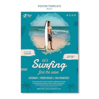 Sjabloon voor poster voor surftijd