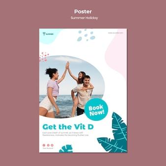 Sjabloon voor poster voor zomervakantie boeken