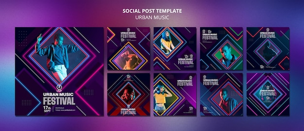 Sjabloon voor postsjabloon voor sociale media voor stedelijke muziek