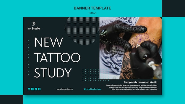 Sjabloon voor professionele tattoo studio-spandoek