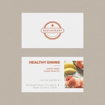 Sjabloon voor restaurantvisitekaartjes psd in voor- en achteraanzicht