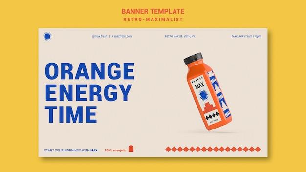 Sjabloon voor retro-maximalistische horizontale banner