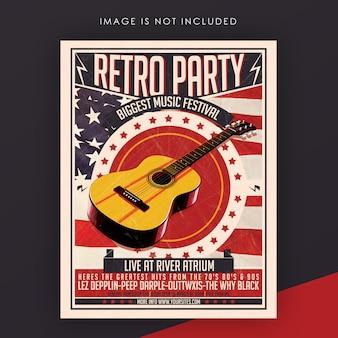 Sjabloon voor retro muziek evenement flyer