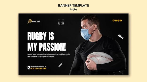 Sjabloon voor rugbybanner met foto