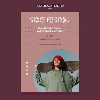 Sjabloon voor skateboardfestival-poster Gratis Psd