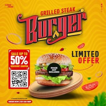 Sjabloon voor social feed media grilled steak burger
