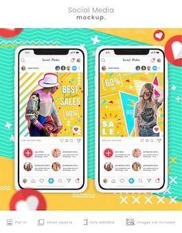 Sjabloon voor sociale media-berichten op telefoonmodel
