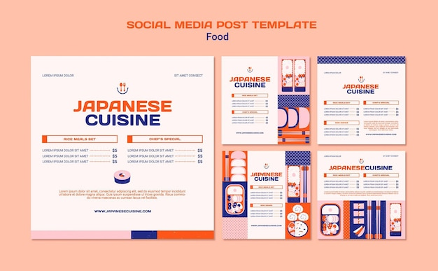 Sjabloon voor sociale media in de japanse keuken