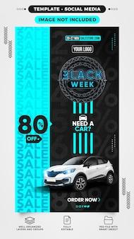 Sjabloon voor sociale mediaverhalen black week heeft een auto nodig met 80 korting