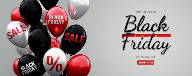 Sjabloon voor spandoek black friday-verkoop met 3d-ballon met verkooptekst