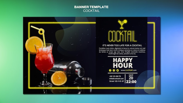 Sjabloon voor spandoek cocktail concept