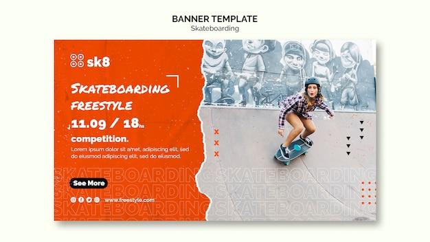 Sjabloon voor spandoek concept skateboard