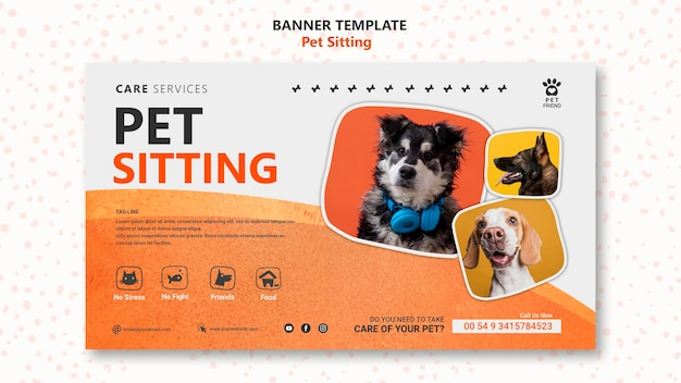 Sjabloon voor spandoek concept voor huisdierenoppas