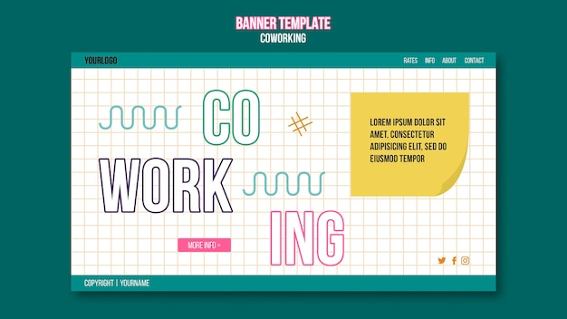 Sjabloon voor spandoek coworking concept