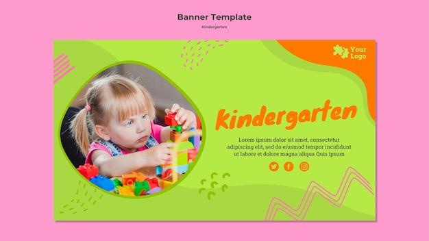 Sjabloon voor spandoek creatieve kleuterschool met foto