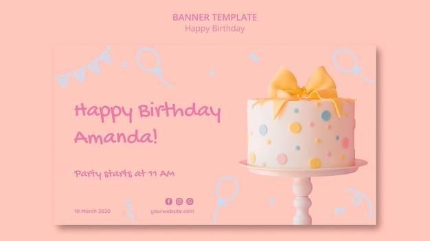Sjabloon voor spandoek gelukkige verjaardag