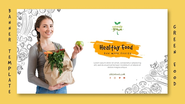 Sjabloon voor spandoek gezonde voeding met foto