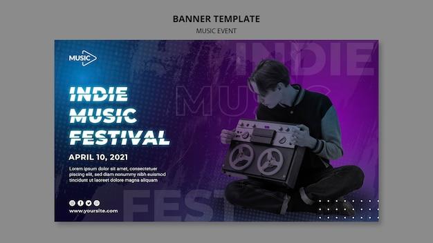 Sjabloon voor spandoek indie muziekfestival