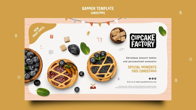Sjabloon voor spandoek kerst cupcake fabriek