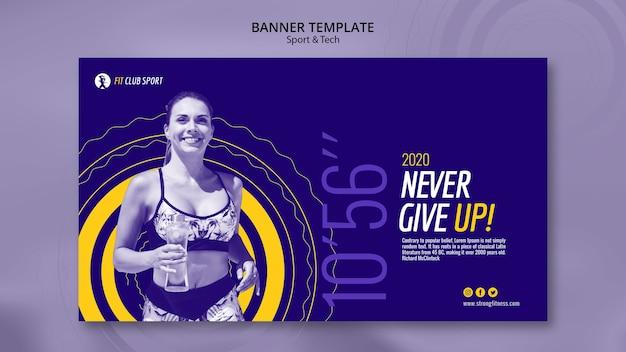 Sjabloon voor spandoek met fit vrouw promo