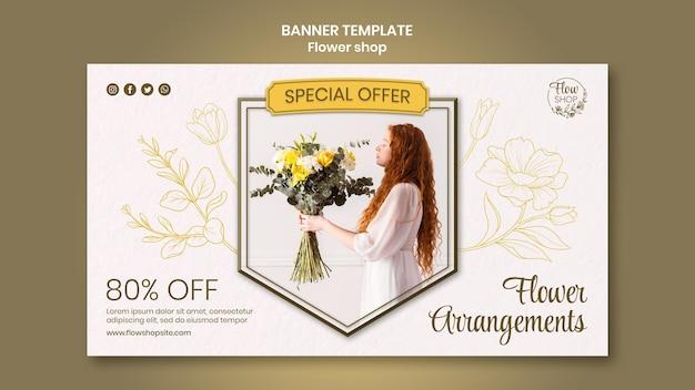 Sjabloon voor spandoek met speciale aanbieding voor bloemenwinkel