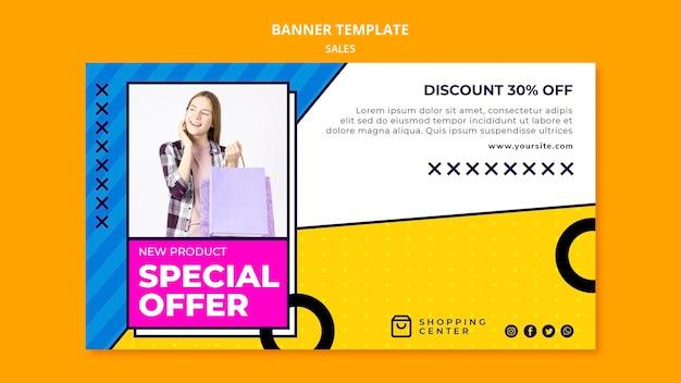 Sjabloon voor spandoek met speciale aanbieding voor online verkoop